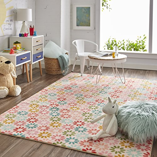(Mohawk Home  Prismatic Enchanted Floral Pink Flower Print Contemporary Kids Area Rug, 5'x8',)