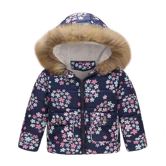 Xmiral Chaqueta de Plumón de Invierno para Bebé Niñas Estampado Flores con Capucha Calentito Abrigo Infantil