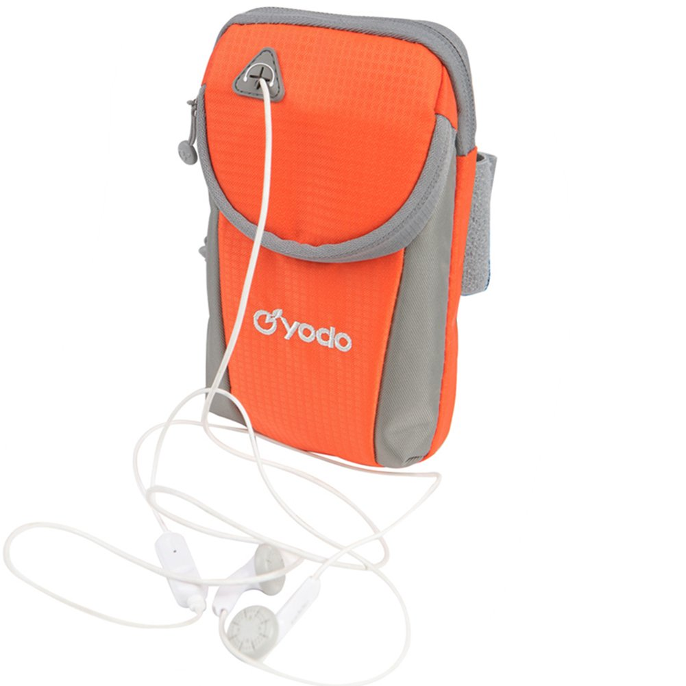 yodo Running Sport Armband with Key Holder and Earphone Hole,2 pouches Fits for iPod Nano/Cell Phone iPhone7S /6S plus/Samsung Galaxy S5 S6 S7 Edge for Workout Exercise Gym Jogging Walking,Orange