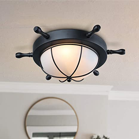 Amazon.com: LNC 2-Light Nautical Flush Mount Luz de techo ...