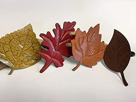 autumn fall leaves leaf shaped assorted napkin rings set of 4