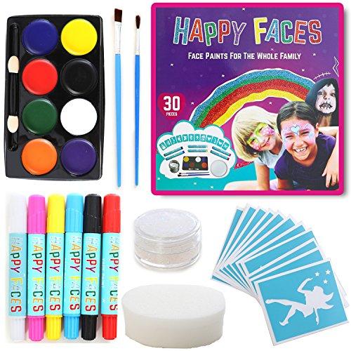 FACE PAINT SET: 30 Piece Kit Including Face Paints, Face Painting Pens, Brushes, Sponge, Stencils & Guide Book. Suitable For All Ages.