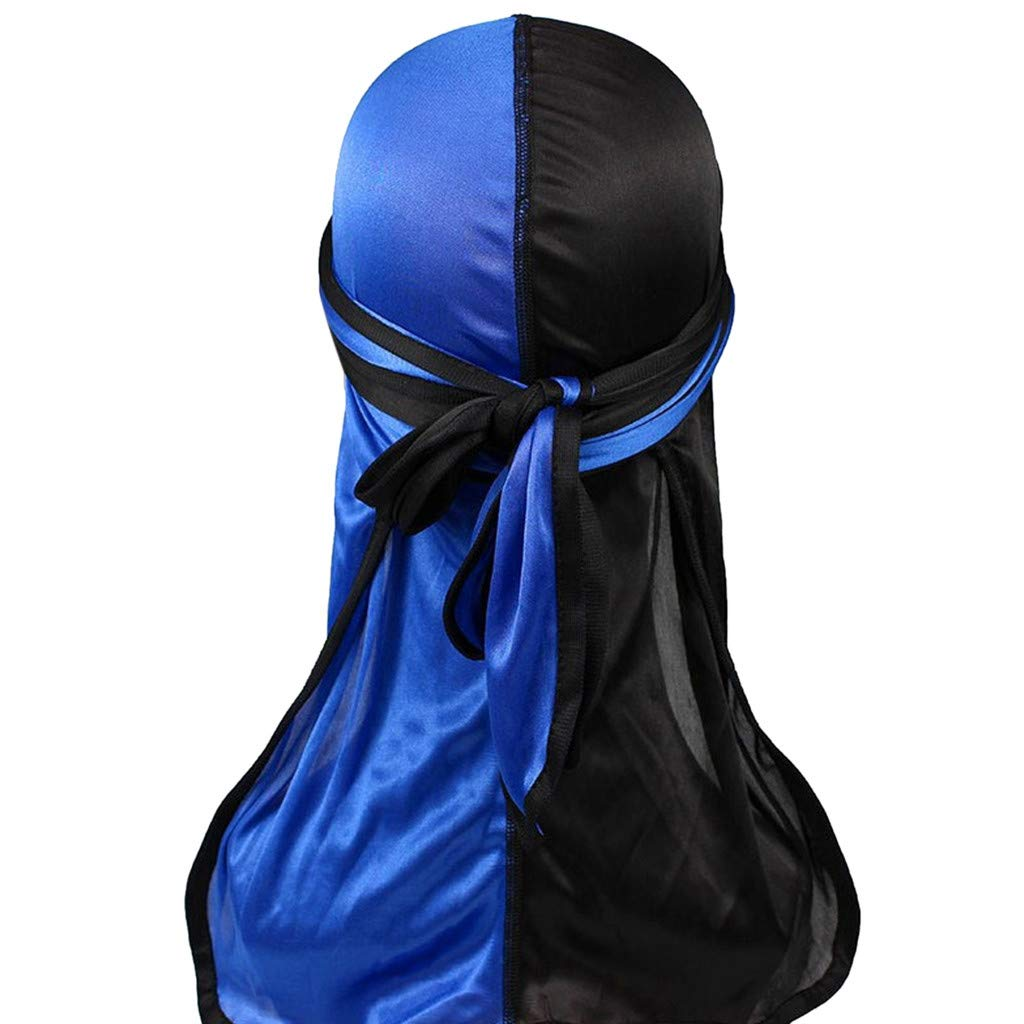 Muslim Bandana Cap,Silky Durag Pirate Hat Elastic Long-Tailed Turban Hat Chemo Cap for Men Women (Color Block-Dark Blue)