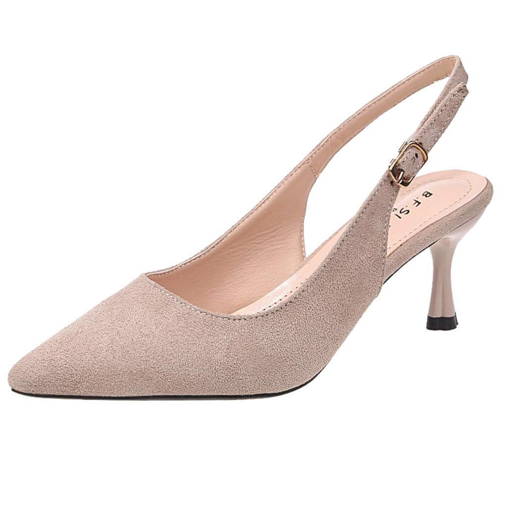 Thenxin Summer Pointed Stiletto Sandals for Women High Heel Solid Shoes for Work (Beige,6.5 US)