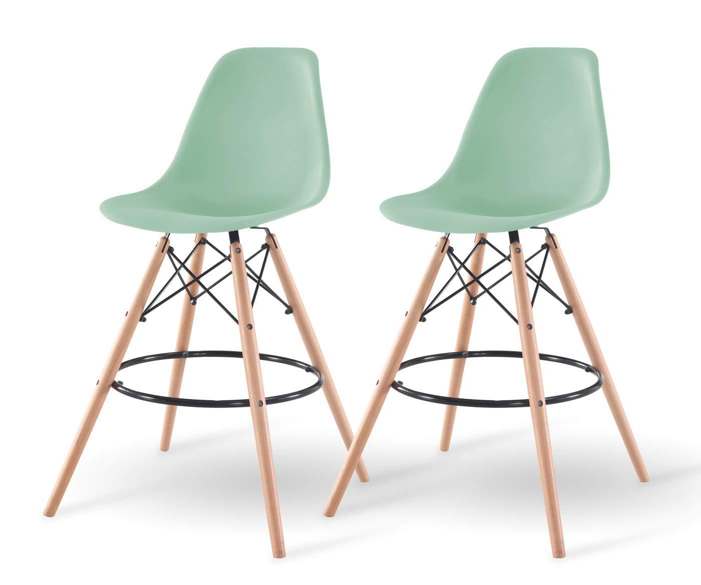 IRIS Mid-Century Modern Shell Barstool with Wood Eiffel Legs, 2 Pack, Mint Green by IRIS USA, Inc.