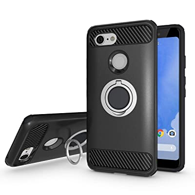 Newseego Compatible with Google Pixel 3 Case, Armor Dual Layer 2 in 1 and Finger Ring Holder Kickstand Fit Magnetic Car Mount for Google Pixel 3-Black: MP3 Players & Accessories