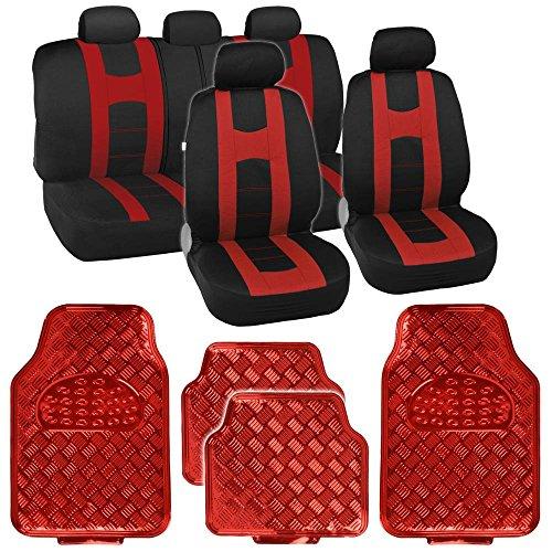 Black/Red Sport Stripe Seat Covers Full Set w/ Shiny Metallic Red Floor Mats - Red Sport Series Slip