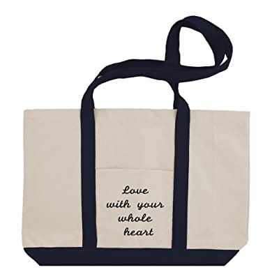 Love With Your Whole Heart Cotton Canvas Boat Tote Bag Tote