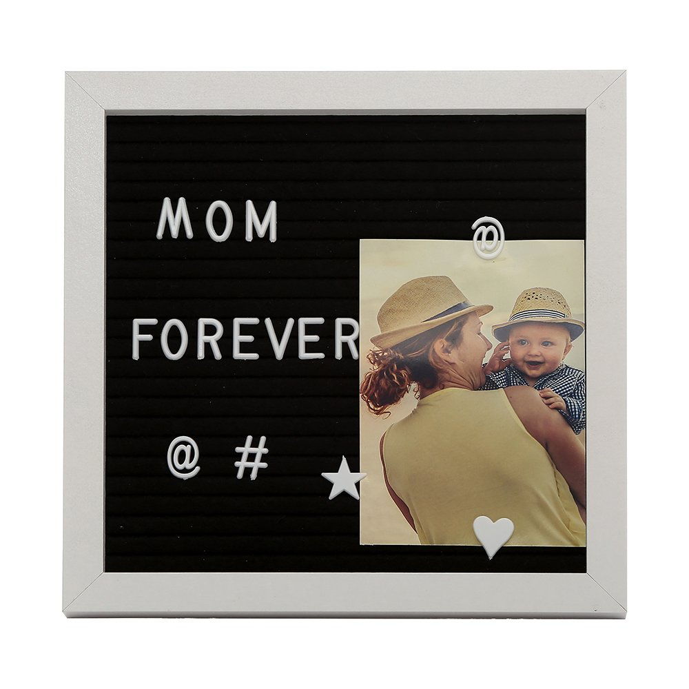 Felt Board with Changeable Letters 10x10-Inch Wooden White Frame with Easel Brass Wall Hanger 250 Plastic Letters Numbers Symbols Emojis Canvas Bag