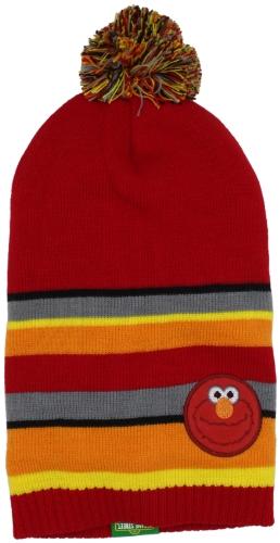UPF 50+ Coppertone/Sesame Street UV Headwear Little Boys' Elmo Micro Fleece Lined Knit Slouchy Toque With Pom Pom, Elmo Red, Large