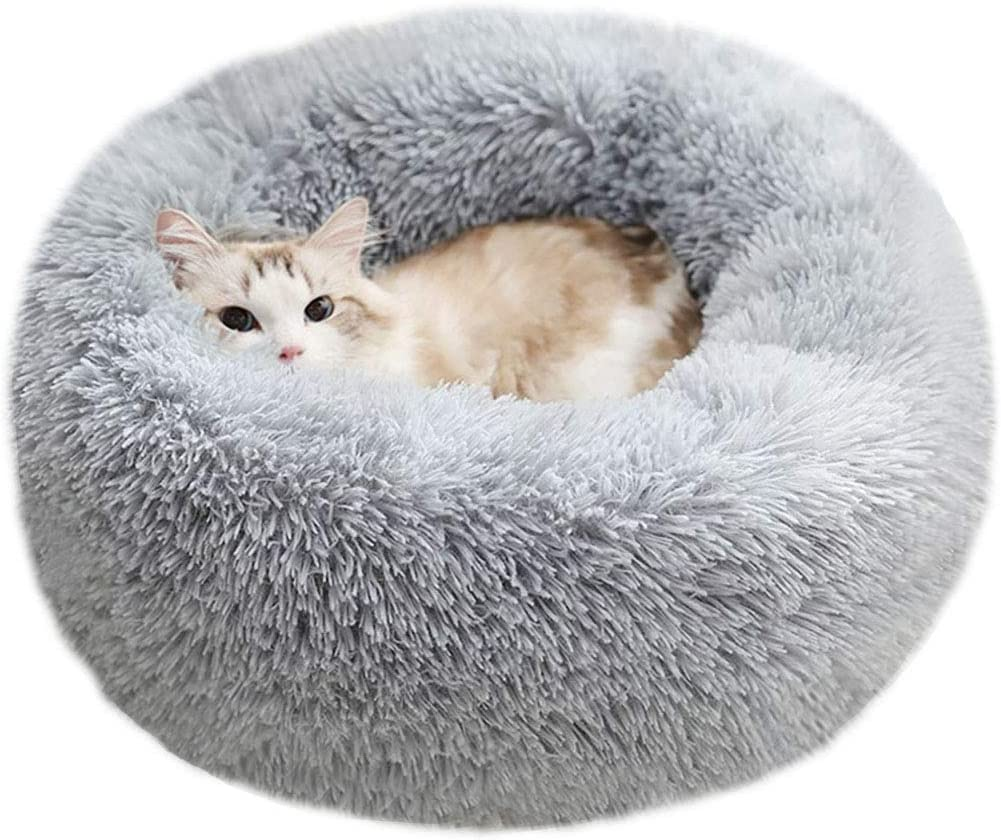 BODISEINT Modern Soft Plush Round Pet Bed for Cats or Small Dogs, Mini Medium Sized Dog Cat Bed Self Warming Autumn Winter Indoor Snooze Sleeping Cozy Kitty Teddy Kennel