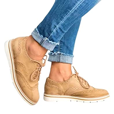f75df851686 VANDIMI Women Fashion Platform Lace Up Loafers Oxford Ankle Flat Suedes  Shoes Casual Wingtip Brogue Sneakers
