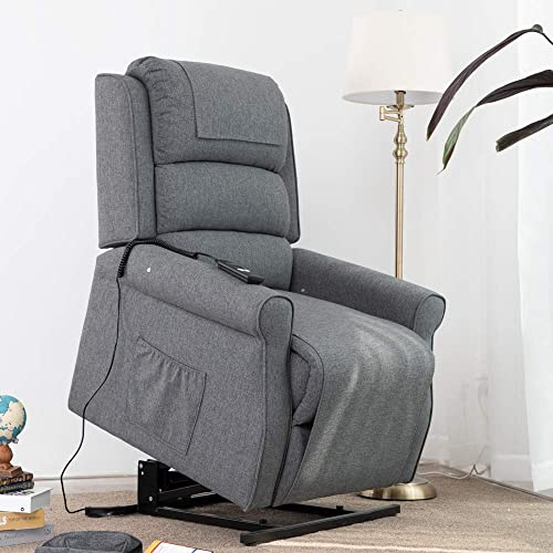 Lansen Furniture Electric Power Lift Recliner Chair Traditional Comfortable Brushed Linen Fabric Lounge