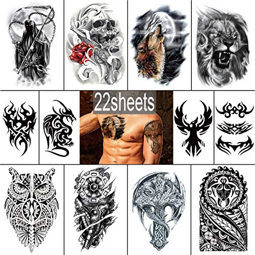 YAKAGO 22 Pieces Large Temporary Tattoos For Men Adults Guys Body|Arm|Shoulder|Chest Fake Tattoo Sticker Lion|Wolf|Owl|Death|Skull
