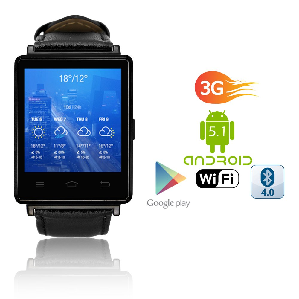 Indigi 2017 Android 5.1 3G Unlocked SmartWatch & Phone WiFi + GPS(Maps) + Heart Rate Monitor + Google Play Store by inDigi (Image #1)