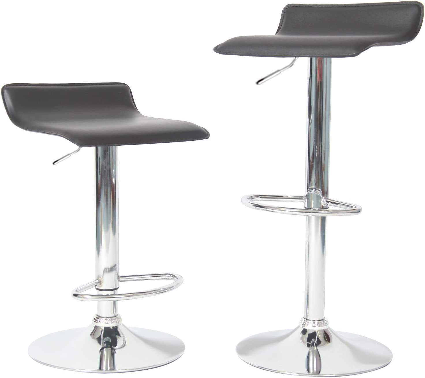 Roundhill Furniture Contemporary Chrome Air Lift Adjustable Swivel Stools with Black Seat, Set of 2