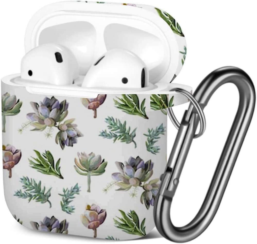 Succulent Flower Plant Compatible with AirPods 2 and 1 Shockproof Soft TPU Gel Case Cover with Keychain Carabiner for Apple AirPods