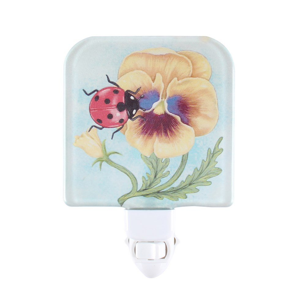 Liffyガラス赤ちゃん寝室プラグin NightライトChildsキッズ壁Nursery LEDポータブル夜ランプ B07C6DNSYP 15248  Pansy & Ladybug