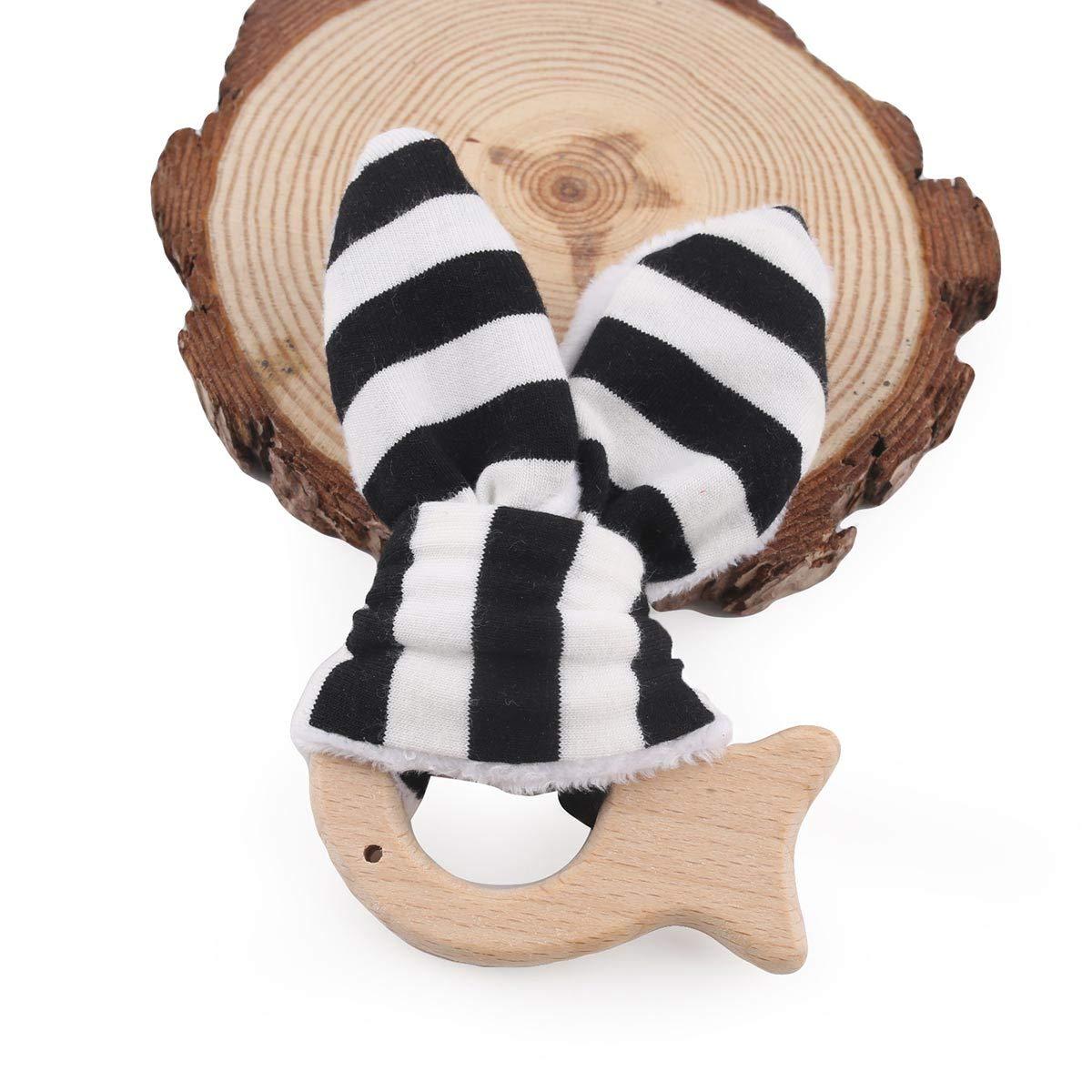Baby Wooden Organic Teething Rings Bunny Ear Animal Shaped Nursing Toys BPA Free