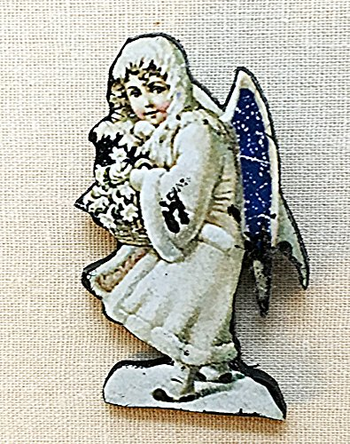 Joseph Cornell Snow Maiden Pin Brooch Handcrafted Wooden Art Jewelry, Gift for Art Lover Teacher, Collage Assemblage American Museum Piece