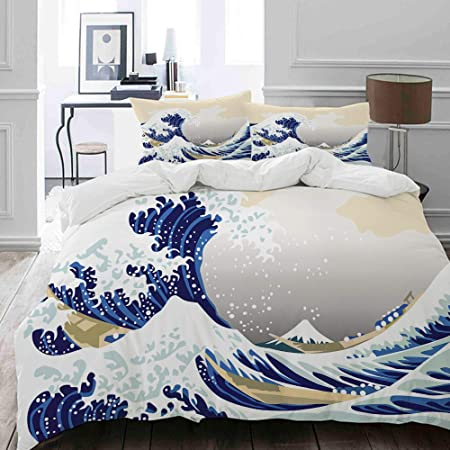 Kvmv Parure De Lit Adulte Housse De Couette Motif Hokusai