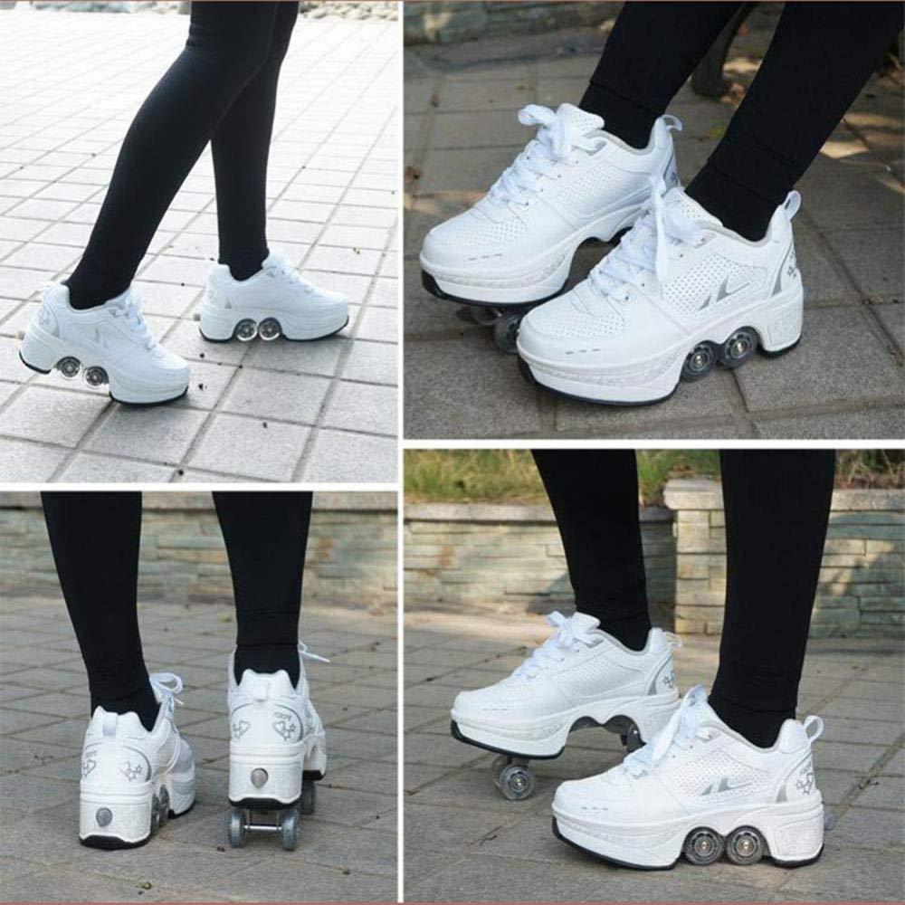 CVFDGETS Patines En L/ínea En Lugar De Zapatos para Caminar Patines De Ruedas Multiusos 2 En 1 Patines para Principiantes De Dise/ño Elegante Zapatos Deportivos Unisex,SilverWhite-31