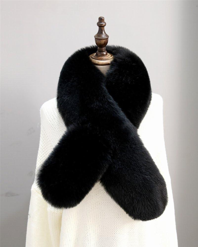 Bufanda de Peluche de Cuello de Piel de Invierno Cálido Femenino Cruz , negro