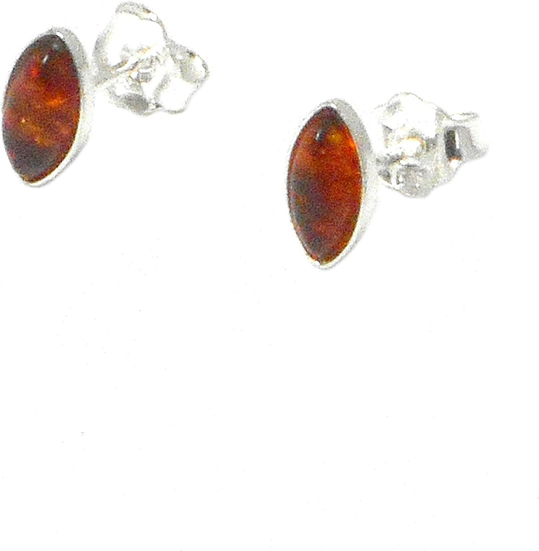 Art Gecko ARST02101812 - Pendientes de plata de ley 925 y ámbar coñac con piedras preciosas de marquesa y broches de 925 x 5 x 10 mm