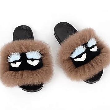 amazon com dgs summer women fur slippers monster slides fluffy real