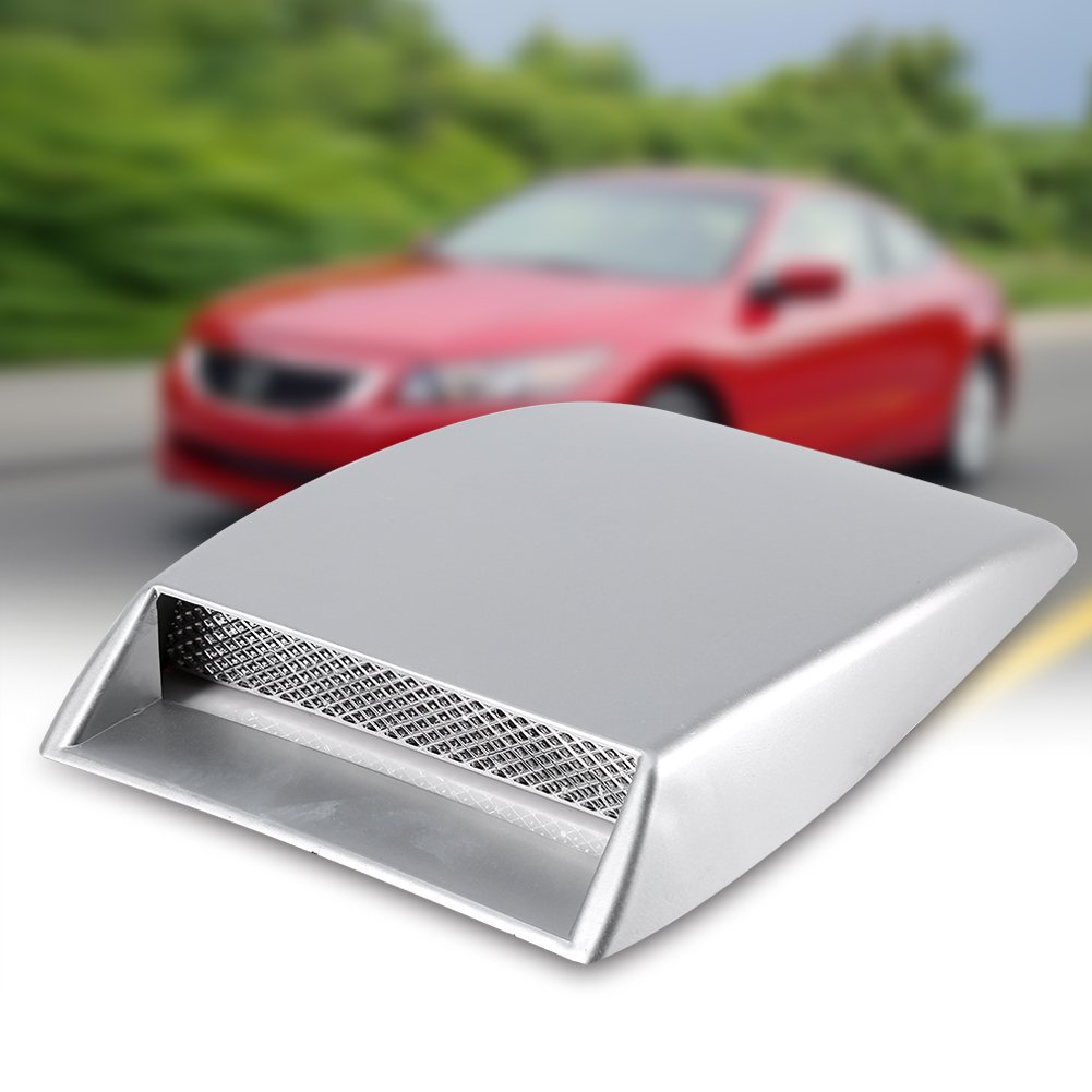 Capilla de la cubierta de la etiqueta engomada del respiradero del capo de ventilaci/ón del capo de la toma de aire del coche universal plata