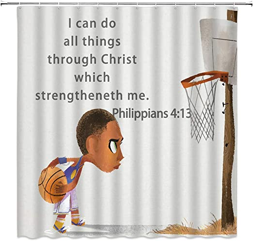 Amazon Com Boy Sport Shower Curtain Basketball Inspirational