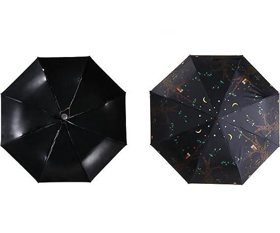 Paraguas de Viaje Compacto, Esther Beauty Búho Plegable Lluvia Paraguas Automático Abierto y Cerrado, Negro: Amazon.es: Equipaje