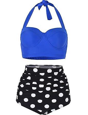 b0f378286 FeelinGirl Women Vintage Polka Dot High Waisted Bathing Suits Bikini Blue M