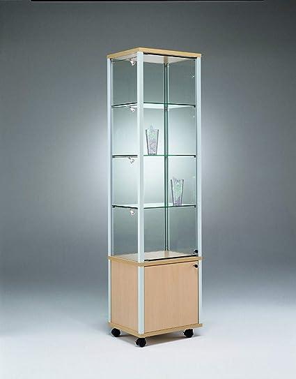 MHN Moderna vitrina de cristal con cerradura y armario ...