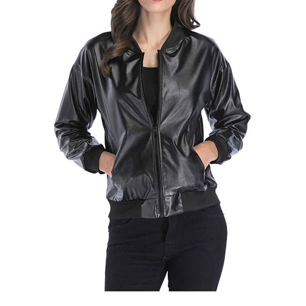 Faionny Women Solid Slim Jacket Long Sleeve Coat PU Leather Blazer Blouse Zipper Lapel Tops
