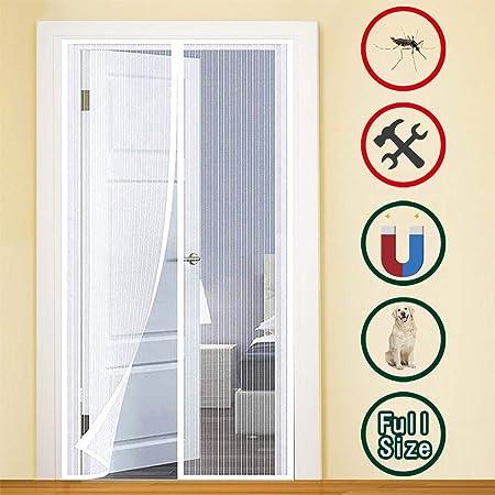 GUOGAI Mosquitera Puerta Magnetica 70x200cm(28x79inch) Mosquitera Magnética Pegado sin Taladrar Sin Huecos para Sala de Estar Balcón, Blanco: Amazon.es: Hogar