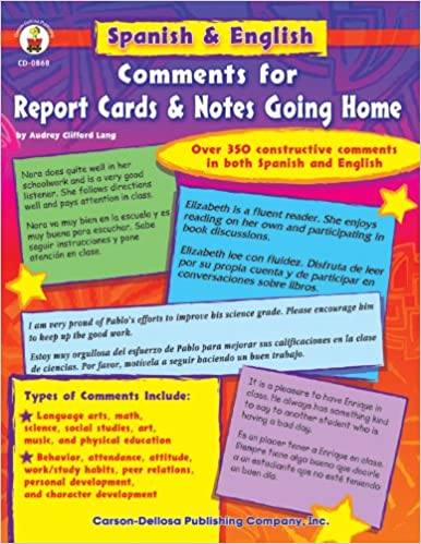 Spanish & English Comments for Report Cards & Notes Going Home ...