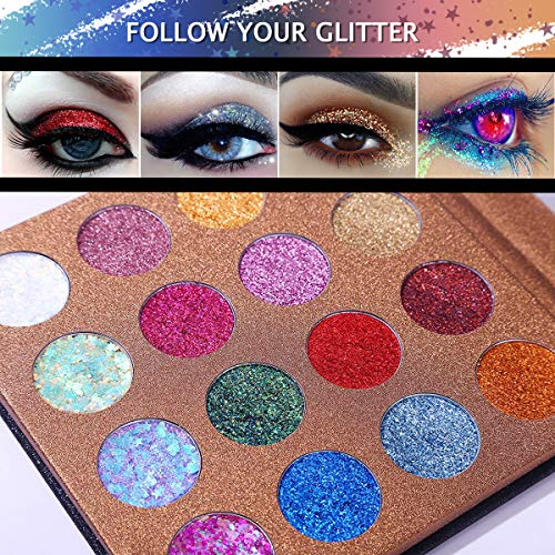UCANBE Pro Glitter Eyeshadow Palette - Professional 16 Colors - Chunky & Fine Pressed Glitter Eye Shadow Powder Makeup Pallet Highly Pigmented Ultra Shimmer for Face Body