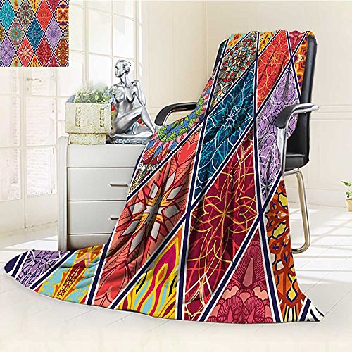 - Luxury Double-sides Reversible Fleece Duplex printed blanket Farmhouse Mega Geometric Diagonal Pieced Mosaic Tile with Authentic Arabesque Lines Multi Travelling and Camping blanket /W47