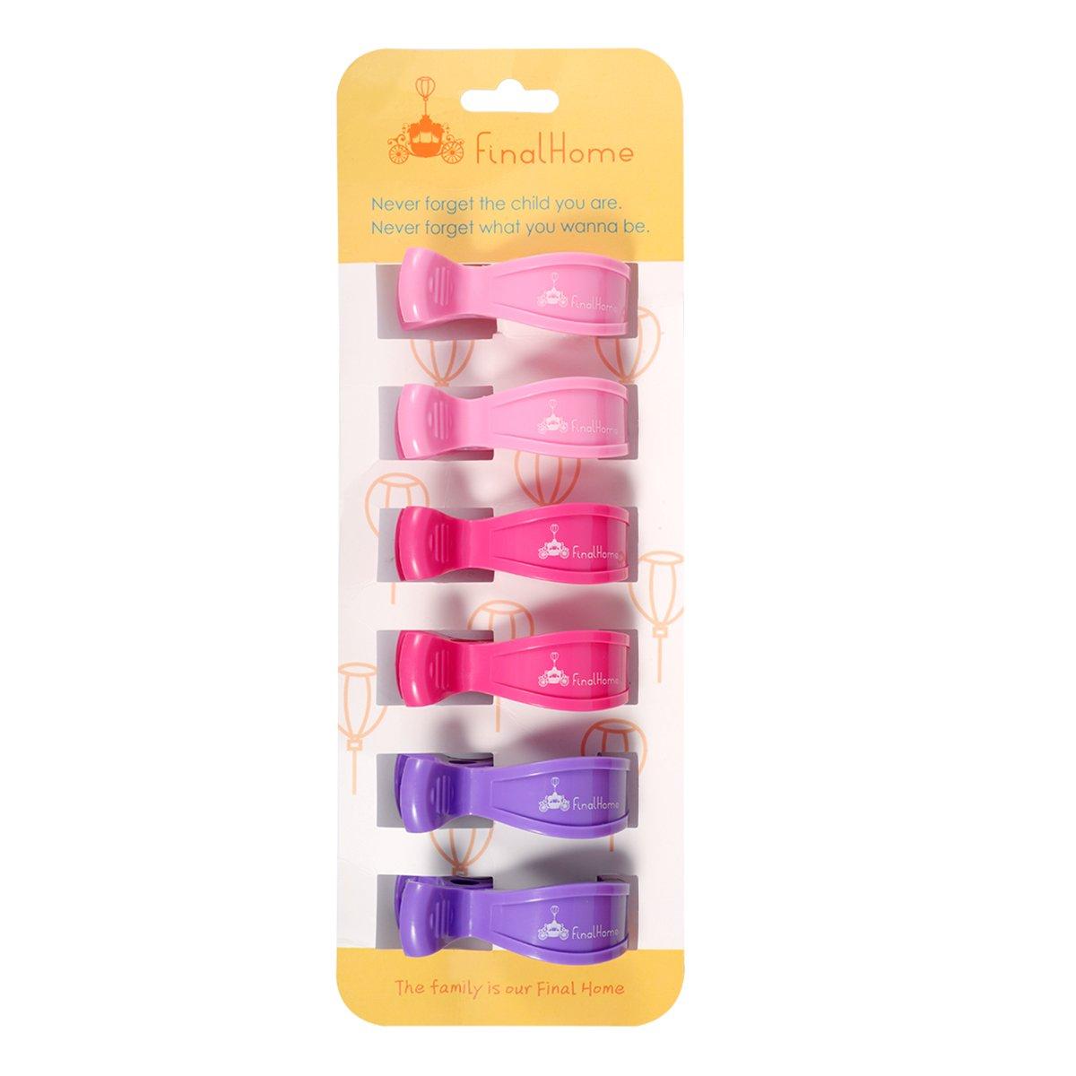 Finalhome 6 Pack Buggy Heringe zu Haken Decke und Spielzeug, perfekte Geschenk Set für Auto Sitzbezug Clips, Kinderwagen Heringe Spielzeug Halter (Mädchen)