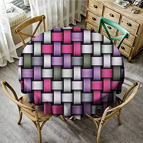 familytaste Tablecloths for Circular TableAbstract,Knot Pattern with Large Fractal Yarns Geometric Linked Bands Graphic,Pink Purple Silver Grey D 36