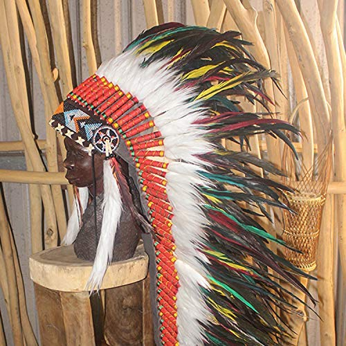 Amazon.com: Feather Headdress Native American Indian Headdress Warbonnet  Feather Hat Carnival Party Halloween Christmas Festival Party Hat Halle  Moto More Colors -L: Handmade