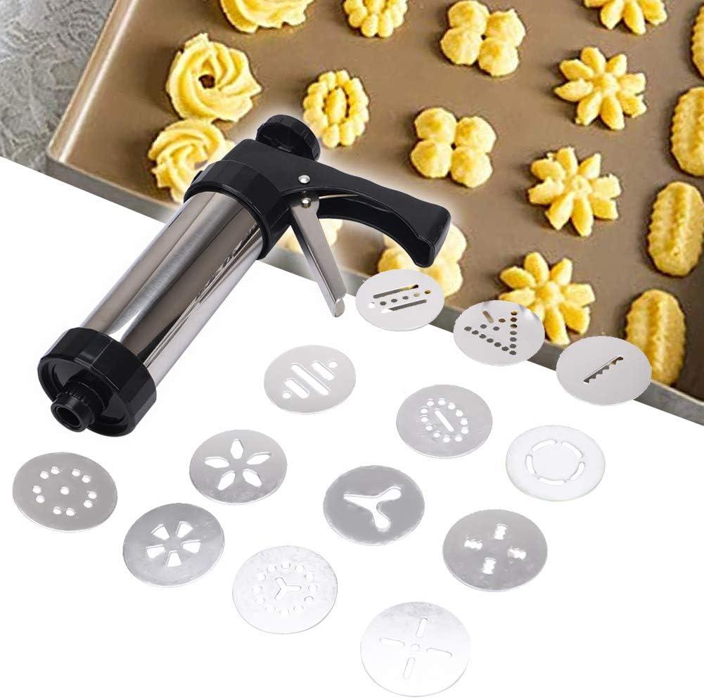 TUXI - Pistola de prensas de galletas, acero inoxidable de grado alimenticio, para hacer galletas y pasteles, herramienta de decoración de tartas, 13 puntas y 8 boquillas incluidas