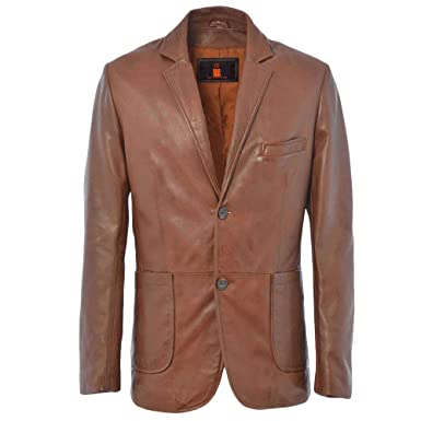a326dc40df2 Men s Genuine Sheepskin Soft Smooth Leather Coat Blazer Jacket Two Buttons  Slim Fit LB01 Brown (