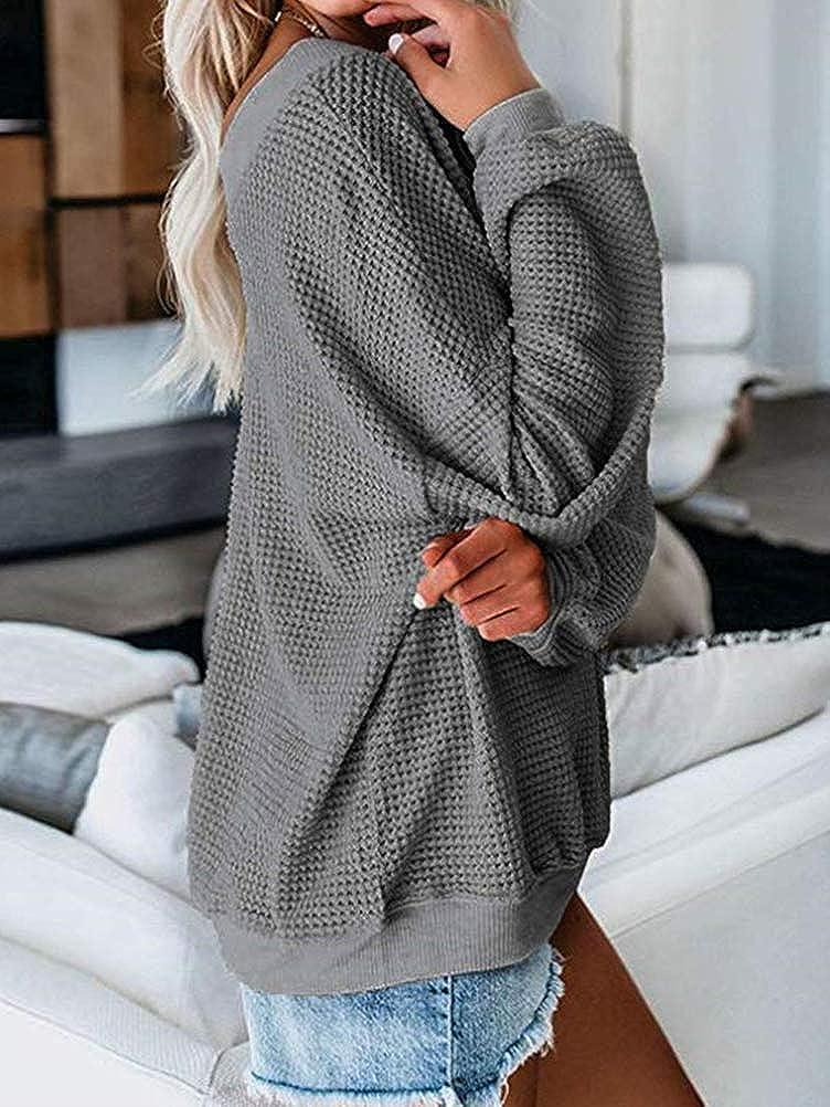 ORANDESIGNE Donna Pullover a Maniche Lunghe con Scollo a V Casuale Eleganti Lunga T Shirt Elegante Felpe Bluse Tops