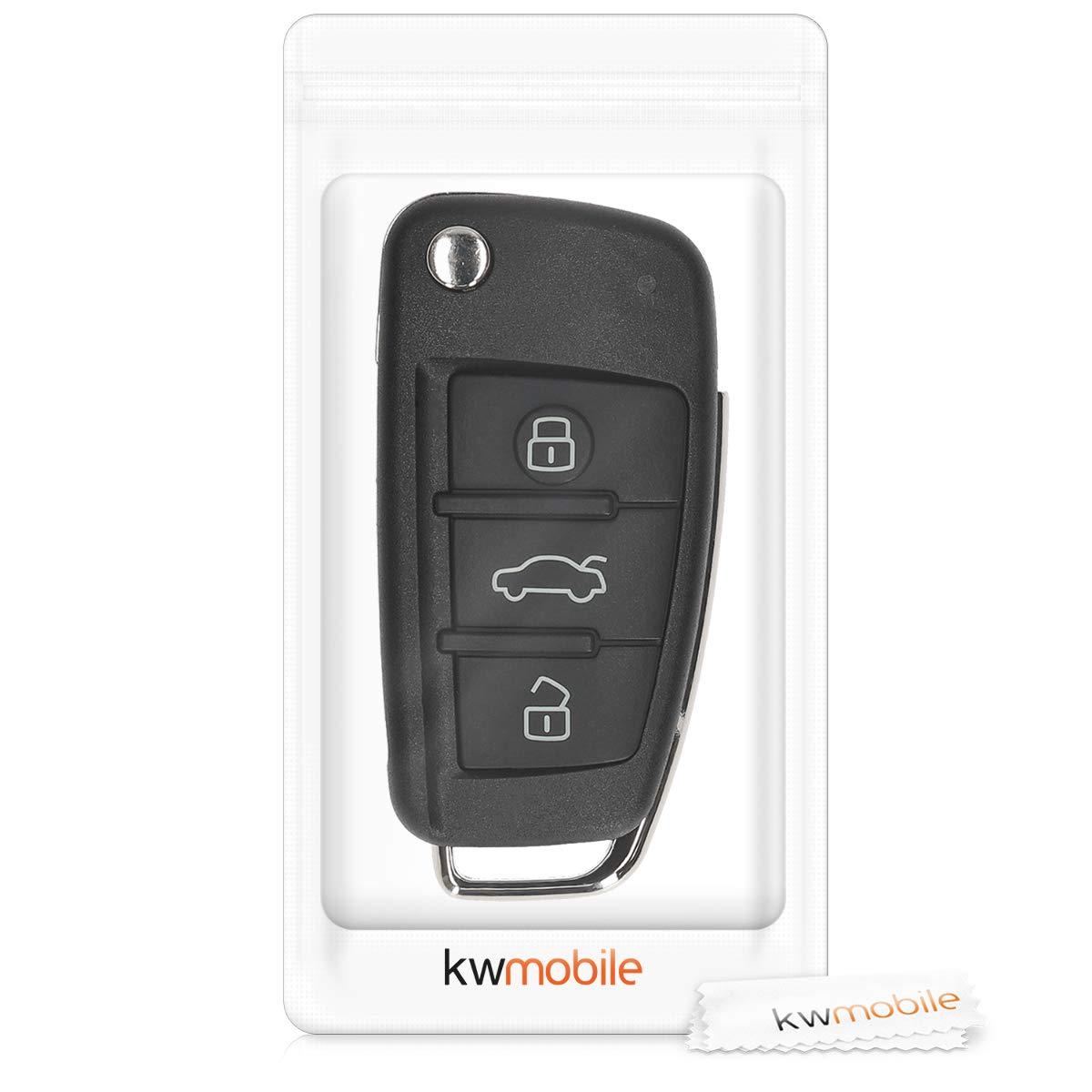 Coque de Protection Rigide Antichoc Accessoire pour T/él/écommande cl/é Audi Pliable 3-Touches kwmobile Bo/îtier Clef Audi Noir
