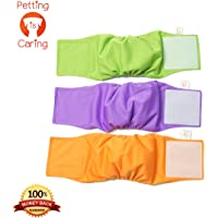 Male Dog Wraps Washable & Reusable by PETTING IS CARING - Belly Band Diapers Best Quality Materials Durable Machine Washable Simple Solution for Pets Incontinence Long Travels - 3 Pack Set (L)