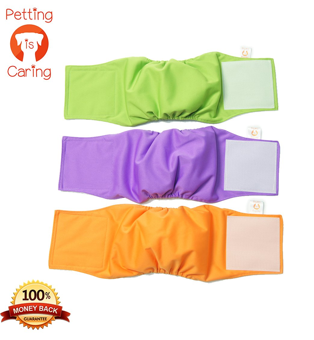 PETTING IS CARING MALE DOG WRAPS WASHABLE& REUSABLE by Belly Band Diapers Best Quality Materials DURABLE MACHINE WASHABLE Simple Solution For Pets INCONTINENCE Long Travels - 3 Pack Set SIZE (L)