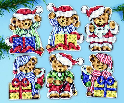 Design Works Counted Cross Stitch Kit 6 Ornaments - Little Bears -