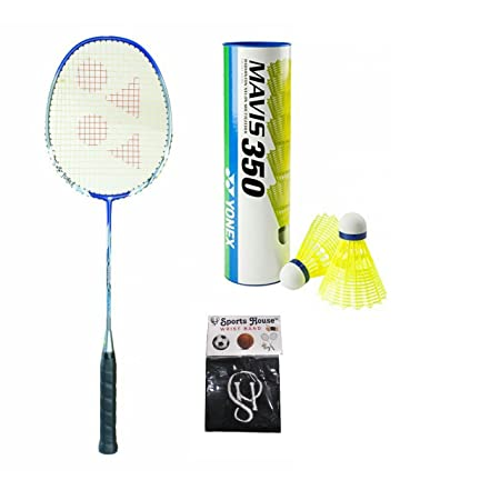 Yonex Nanoray 7000I Badminton Racquet  Pack of 1   amp; Mavis 350 Yellow Nylon Shuttle Cock  Pack of 6  with SPORTSHOUSE Wrist Band